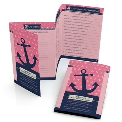 Ahoy   Nautical Girl   Personalized Baby Shower Fabulous 5 Games