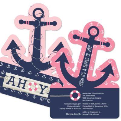 Ahoy Nautical Girl Shaped Baby Shower Invitations