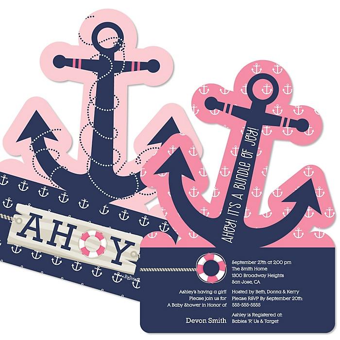 Ahoy - Nautical Girl - Shaped Baby Shower Invitations - Set of 12