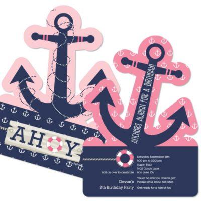 Ahoy Nautical Girl Shaped Birthday Party Invitations