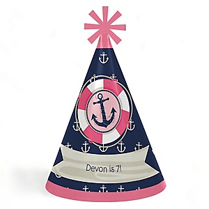 Ahoy - Nautical Girl - Personalized Cone Happy Birthday Party Hats for Kids and Adults - Set of 8 (Standard Size)