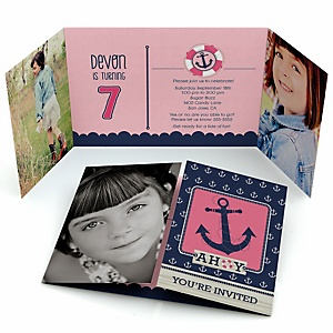Ahoy - Nautical Girl - Personalized Birthday Party Photo Invitations - Set of 12