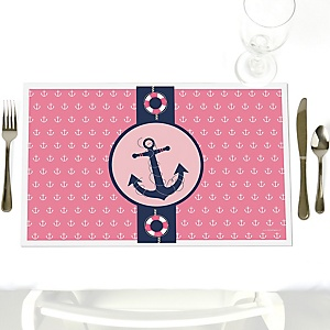 Ahoy - Nautical Girl - Party Table Decorations - Party Placemats - Set of 12