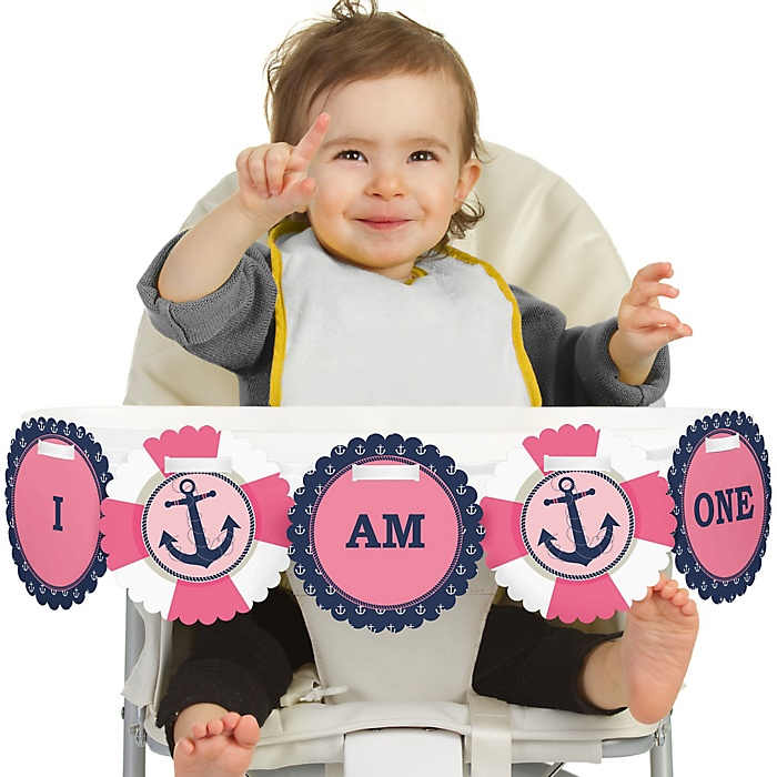 Ahoy - Nautical Girl 1st Birthday - I am One - First Birthday High Chair Banner