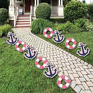 Ahoy - Nautical Girl Anchor Lawn Decorations - Outdoor Baby Shower or Birthday Party Yard Decorations - 10 Piece