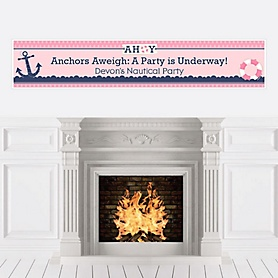 Ahoy - Nautical Girl - Personalized Party Banners