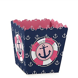 Ahoy - Nautical Girl - Party Mini Favor Boxes - Personalized Party Treat Candy Boxes - Set of 12
