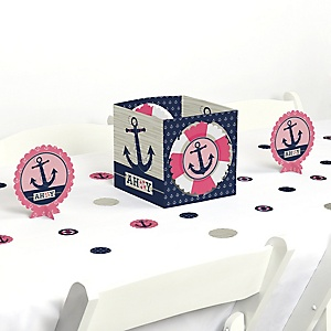 Ahoy - Nautical Girl - Baby Shower or Birthday Party Centerpiece and Table Decoration Kit