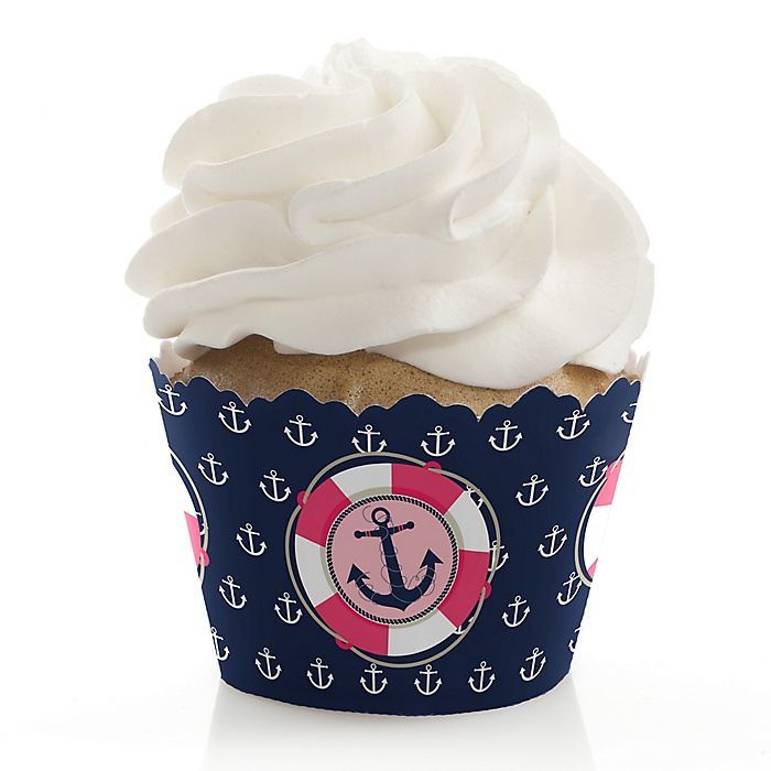 Ahoy - Nautical Girl - Party Decorations - Party Cupcake Wrappers - Set of 12