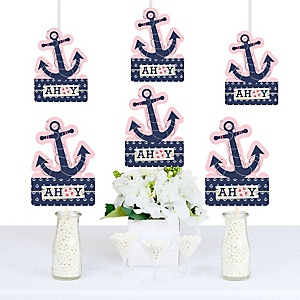 Ahoy - Nautical Girl - Anchor Shaped Decorations - DIY Baby Shower or Birthday Party Essentials - Set of 20