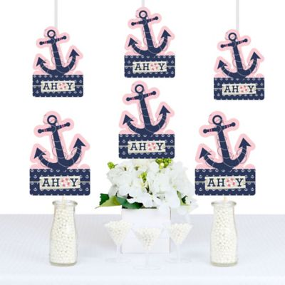 Ahoy   Nautical Girl   Anchor Shaped Decorations   DIY Baby Shower Or  Birthday Party Essentials