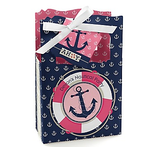 Ahoy - Nautical Girl - Personalized Party Favor Boxes - Set of 12