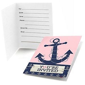 Ahoy - Nautical Girl - Fill In Baby Shower Invitations - Set of  8
