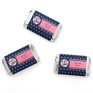 Ahoy - Nautical Girl - Personalized Party Mini Candy Bar Wrapper Favors - 20 ct