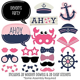 Ahoy - Nautical Girl - 20 Piece Photo Booth Props Kit