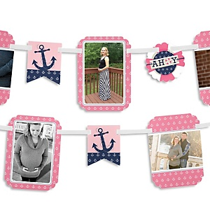 Ahoy - Nautical Girl - Baby Shower Photo Garland Banners