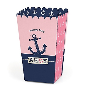 Ahoy - Nautical Girl - Personalized Party Popcorn Favor Treat Boxes