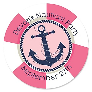 Ahoy - Nautical Girl - Personalized Party Sticker Labels - 24 ct