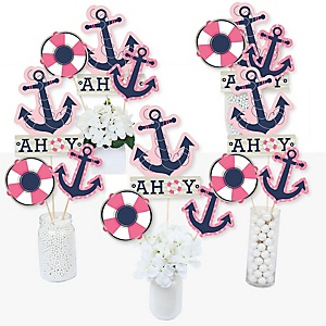 Ahoy - Nautical Girl - Baby Shower or Birthday Party Centerpiece Sticks - Table Toppers - Set of 15