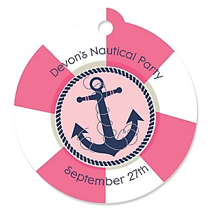 Ahoy - Nautical Girl - Round Personalized Party Tags - 20 ct