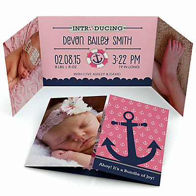 ahoy nautical girl personalized photo birth announcements set