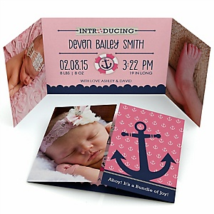 ahoy nautical girl personalized photo birth announcements set of 12