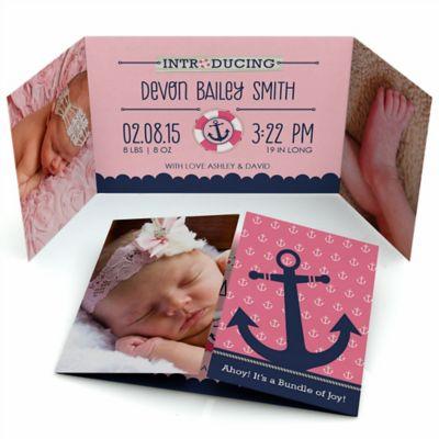 Ahoy   Nautical Girl   Photo Birth Announcements