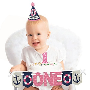Ahoy - Nautical Girl 1st Birthday - First Birthday Girl Smash Cake Decorating Kit - High Chair Decorations