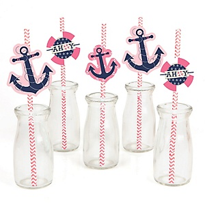 Ahoy - Nautical Girl - Paper Straw Decor - Baby Shower or Birthday Party Striped Decorative Straws - Set of 24