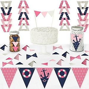 Ahoy - Nautical Girl - DIY Pennant Banner Decorations - Baby Shower or Birthday Party Triangle Kit - 99 Pieces