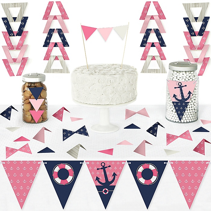 Ahoy - Nautical Girl - DIY Pennant Banner Decorations - Baby Shower or Birthday Party Triangle Kit - 99 Pieces | BigDotOfHappiness.com