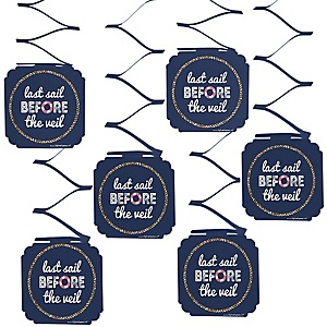 Last Sail Before The Veil - Bachelorette Party & Bridal Shower Hanging Decorations - 6 ct