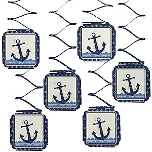 Ahoy - Nautical - Birthday Party Hanging Decorations - 6 ct