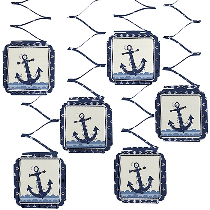 Ahoy - Nautical - Baby Shower Hanging Decorations - 6 ct