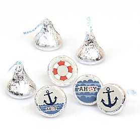Ahoy - Nautical - Round Candy Labels Party Favors - Fits Hershey's Kisses - 108 ct