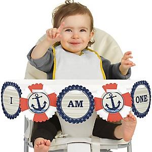 Ahoy - Nautical 1st Birthday - I am One - First Birthday High Chair Banner