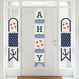 Ahoy - Nautical - Hanging Vertical Paper Door Banners - Baby Shower or Birthday Party Wall Decoration Kit - Indoor Door Decor