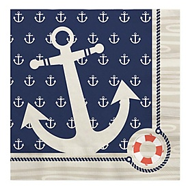 Ahoy - Nautical - Birthday Party Luncheon Napkins - 16 ct