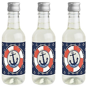Ahoy - Nautical - Mini Wine and Champagne Bottle Label Stickers - Baby Shower or Birthday Party Favor Gift - For Women and Men - Set of 16
