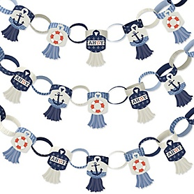 Ahoy - Nautical - 90 Chain Links and 30 Paper Tassels Decoration Kit - Baby Shower or Birthday Party Paper Chains Garland - 21 feet
