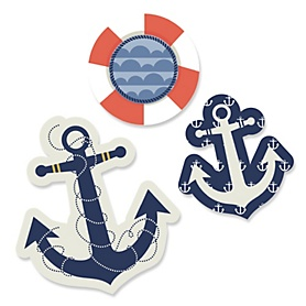 Ahoy - Nautical - DIY Shaped Party Paper Cut-Outs - 24 ct