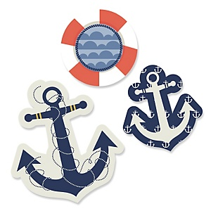 Ahoy - Nautical - Shaped Party Paper Cut-Outs - 24 ct