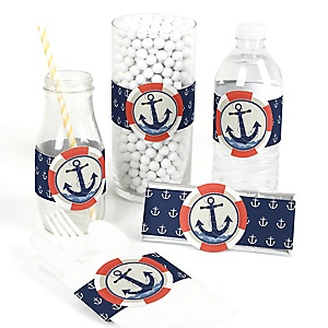 Ahoy - Nautical - DIY Party Wrappers - 15 ct