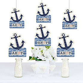 Ahoy - Nautical - Anchor Shaped Decorations - DIY Baby Shower or Birthday Party Essentials - Set of 20