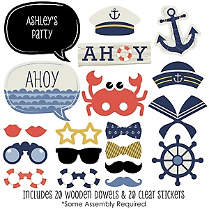 Ahoy - Nautical - Baby Shower Photo Booth Props Kit - 20 Props