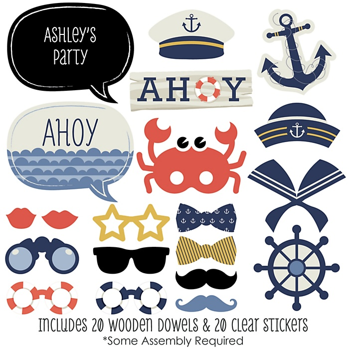 Ahoy - Nautical - 20 Piece Photo Booth Props Kit