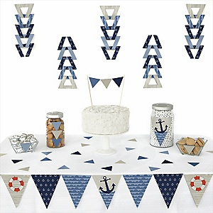 Ahoy - Nautical -  Triangle Party Decoration Kit - 72 Piece