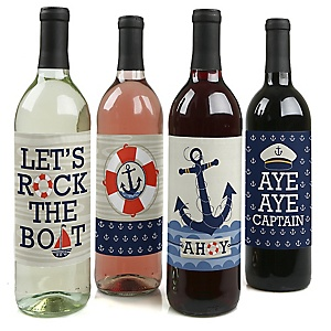 Ahoy - Nautical - Baby Shower or Birthday Party Decorations for Women and Men - Wine Bottle Label Stickers - Set of 4