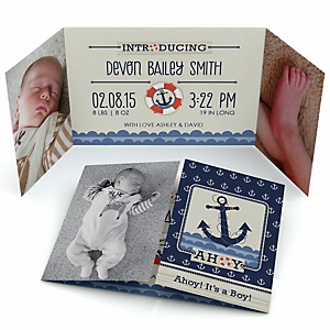 ahoy nautical personalized photo birth announcements set of 12