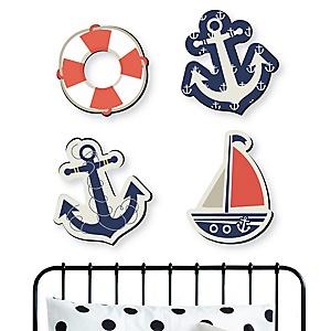 Ahoy - Nautical - Nursery and Kids Room Home Decorations - Shaped Wall Art - 4 Piece